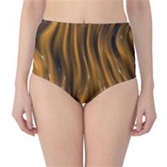 Shiny Silk Golden High-Waist Bikini Bottoms