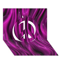 Shiny Silk Pink Peace Sign 3d Greeting Card (7x5)