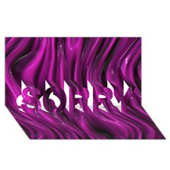 Shiny Silk Pink SORRY 3D Greeting Card (8x4)