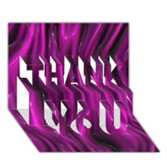 Shiny Silk Pink THANK YOU 3D Greeting Card (7x5)