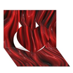 Shiny Silk Red Heart 3D Greeting Card (7x5)