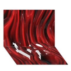 Shiny Silk Red Love Bottom 3d Greeting Card (7x5)