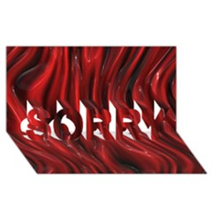 Shiny Silk Red SORRY 3D Greeting Card (8x4)