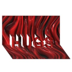 Shiny Silk Red HUGS 3D Greeting Card (8x4)