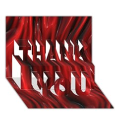 Shiny Silk Red THANK YOU 3D Greeting Card (7x5)
