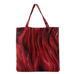 Shiny Silk Red Grocery Tote Bags