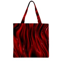 Shiny Silk Red Zipper Grocery Tote Bags