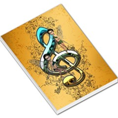 Music, Clef With Fairy And Floral Elements Large Memo Pads