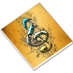 Music, Clef With Fairy And Floral Elements Small Memo Pads
