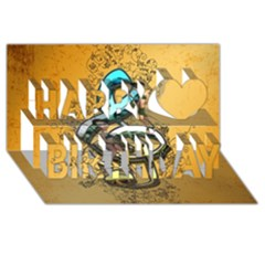 Music, Clef With Fairy And Floral Elements Happy Birthday 3D Greeting Card (8x4)