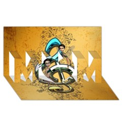 Music, Clef With Fairy And Floral Elements MOM 3D Greeting Card (8x4)