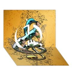 Music, Clef With Fairy And Floral Elements Peace Sign 3d Greeting Card (7x5)