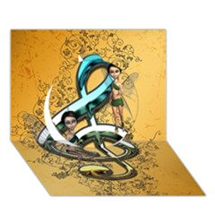 Music, Clef With Fairy And Floral Elements Circle 3D Greeting Card (7x5)