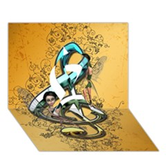 Music, Clef With Fairy And Floral Elements Ribbon 3d Greeting Card (7x5)