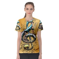 Music, Clef With Fairy And Floral Elements Women s Sport Mesh Tees