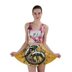 Music, Clef With Fairy And Floral Elements Mini Skirts