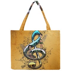 Music, Clef With Fairy And Floral Elements Tiny Tote Bags