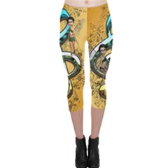 Music, Clef With Fairy And Floral Elements Capri Leggings