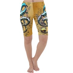 Music, Clef With Fairy And Floral Elements Cropped Leggings