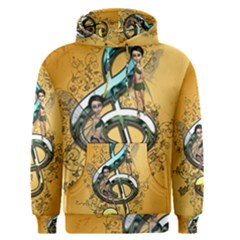 Music, Clef With Fairy And Floral Elements Men s Pullover Hoodies