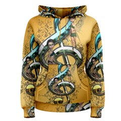 Music, Clef With Fairy And Floral Elements Women s Pullover Hoodies