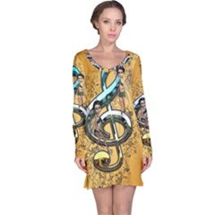 Music, Clef With Fairy And Floral Elements Long Sleeve Nightdresses