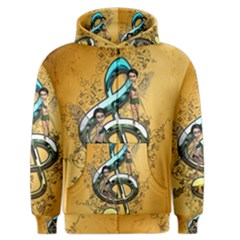 Music, Clef With Fairy And Floral Elements Men s Zipper Hoodies
