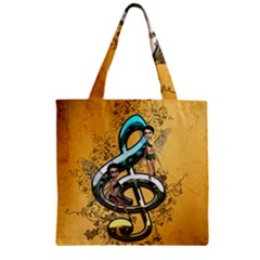 Music, Clef With Fairy And Floral Elements Zipper Grocery Tote Bags