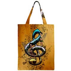Music, Clef With Fairy And Floral Elements Zipper Classic Tote Bags