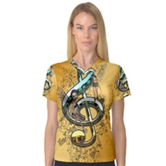 Music, Clef With Fairy And Floral Elements Women s V Neck Sport Mesh Tee