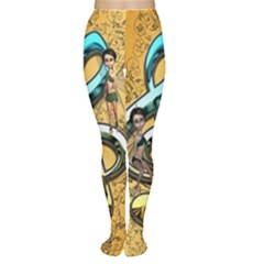 Music, Clef With Fairy And Floral Elements Women s Tights