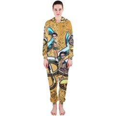 Music, Clef With Fairy And Floral Elements Hooded Jumpsuit (Ladies)