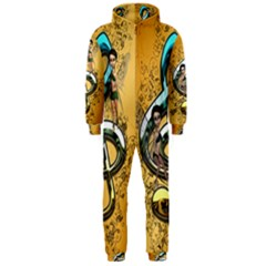 Music, Clef With Fairy And Floral Elements Hooded Jumpsuit (Men)