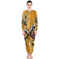 Music, Clef With Fairy And Floral Elements OnePiece Jumpsuit (Ladies)