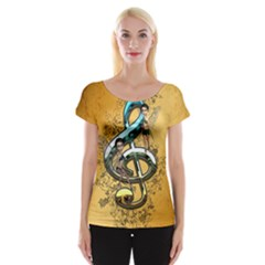 Music, Clef With Fairy And Floral Elements Women s Cap Sleeve Top