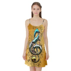 Music, Clef With Fairy And Floral Elements Satin Night Slip