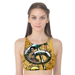 Music, Clef With Fairy And Floral Elements Tank Bikini Top