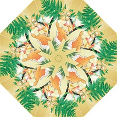 Funny Budgies With Palm And Flower Folding Umbrellas