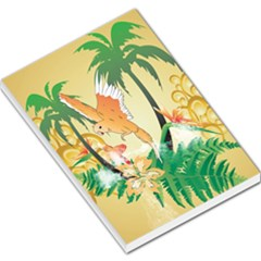 Funny Budgies With Palm And Flower Large Memo Pads