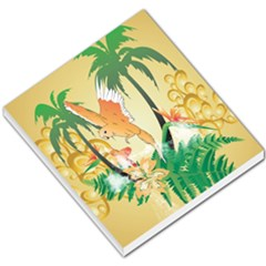 Funny Budgies With Palm And Flower Small Memo Pads