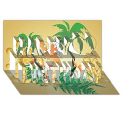 Funny Budgies With Palm And Flower Happy Birthday 3d Greeting Card (8x4)