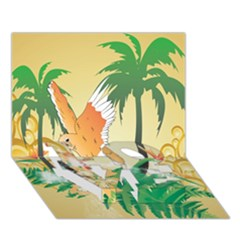 Funny Budgies With Palm And Flower Love Bottom 3d Greeting Card (7x5)