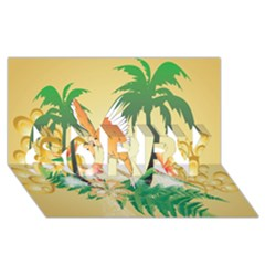 Funny Budgies With Palm And Flower SORRY 3D Greeting Card (8x4)