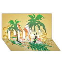 Funny Budgies With Palm And Flower HUGS 3D Greeting Card (8x4)