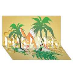Funny Budgies With Palm And Flower ENGAGED 3D Greeting Card (8x4)