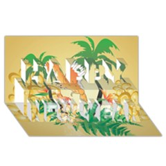 Funny Budgies With Palm And Flower Happy New Year 3D Greeting Card (8x4)