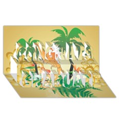 Funny Budgies With Palm And Flower Congrats Graduate 3d Greeting Card (8x4)