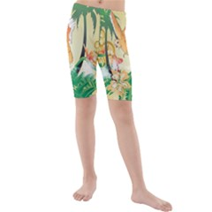 Funny Budgies With Palm And Flower Kid s swimwear