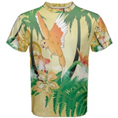 Funny Budgies With Palm And Flower Men s Cotton Tees