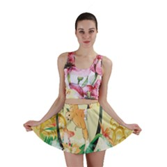 Funny Budgies With Palm And Flower Mini Skirts